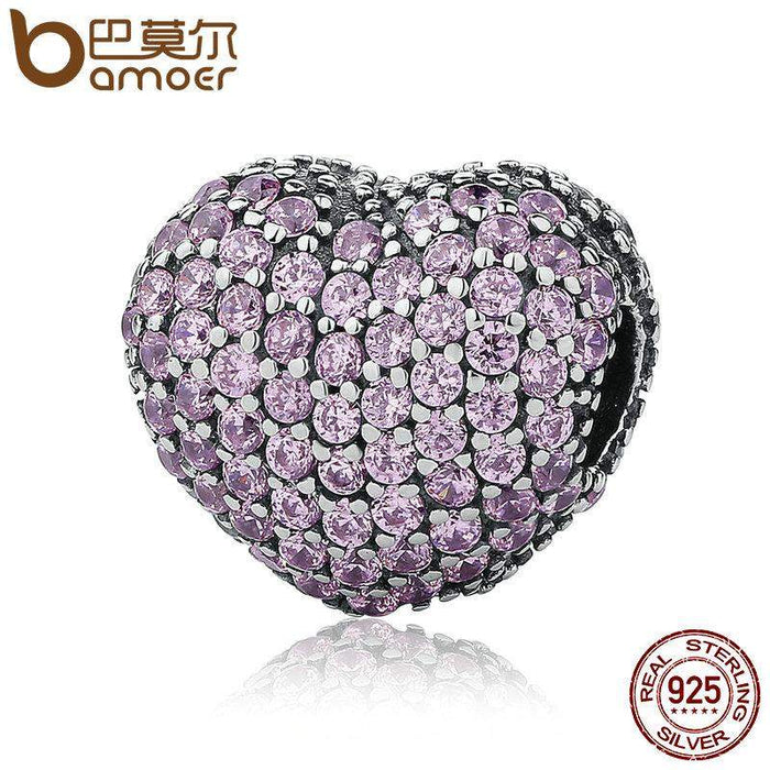 BAMOER 925 Sterling Silver Pave Open My Heart, Pink Clear Cubic Zirconia CZ Clip Charms Fit Bracelet DIY Jewelry Making PSC065