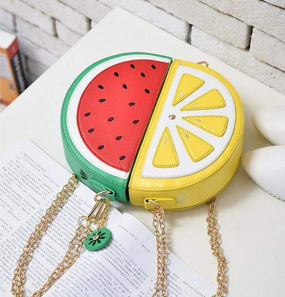 Sweet girl summer new female bag quality pu leather women bag cute fruit packet chain shoulder messenger bag orange watermelon - successmall