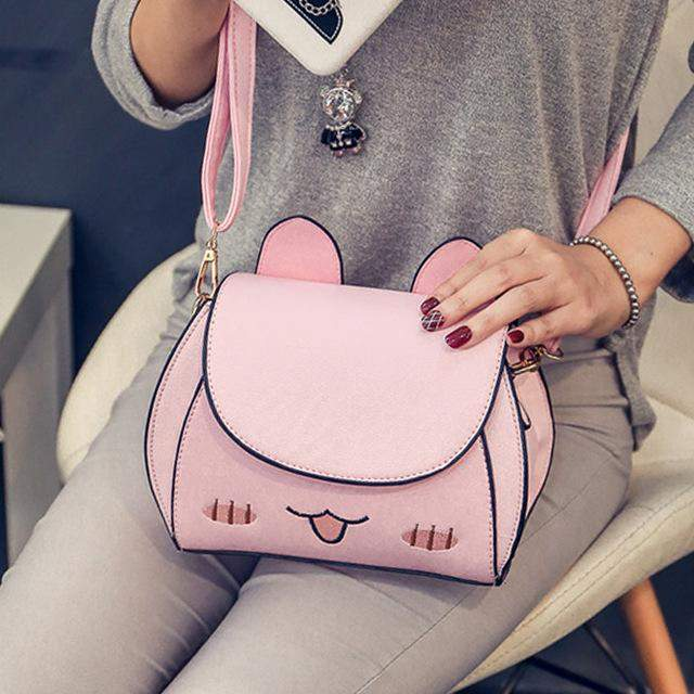 Fall fashion new handbags High quality PU leather Women bag Spiraea cute cat shoulder bag Sweet girl wild leisure female bag