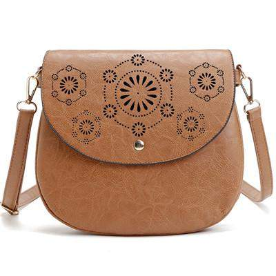 YBYT brand 2017 new PU leather women vintage casual hollow out satchel cover hasp small pack shoulder messenger crossbody bags - successmall