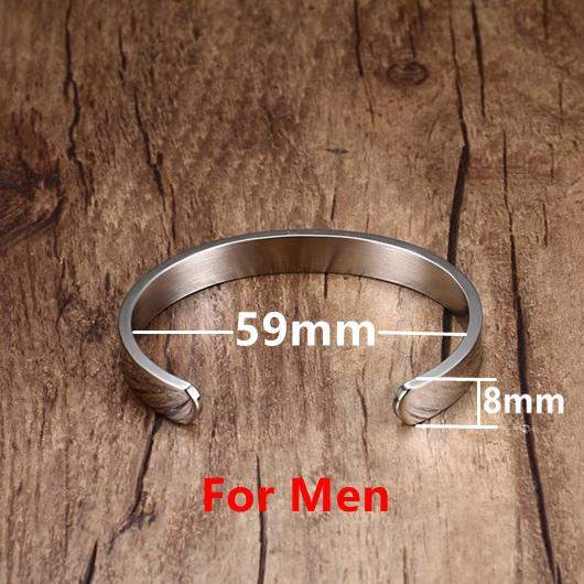 Sale Bangles Customized Jewelry Engraving Stainless Steel 6mm 8mm Men Jewelry Cuff Couple Pure Gold Color Open Bracelet Women