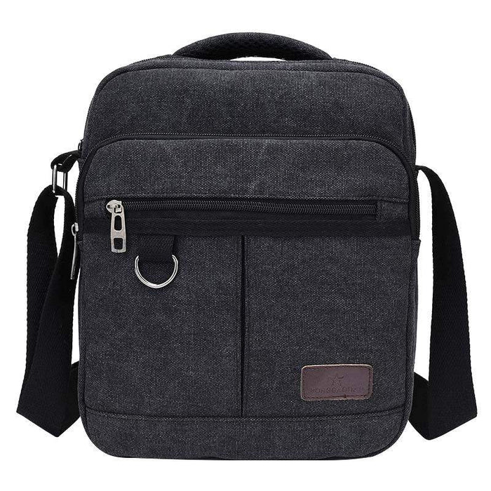 Solid Canvas Casual Men's Handbags Crossbody Zipper Design Men's Flap Single Shoulder Bags Multifunction Travel Bags