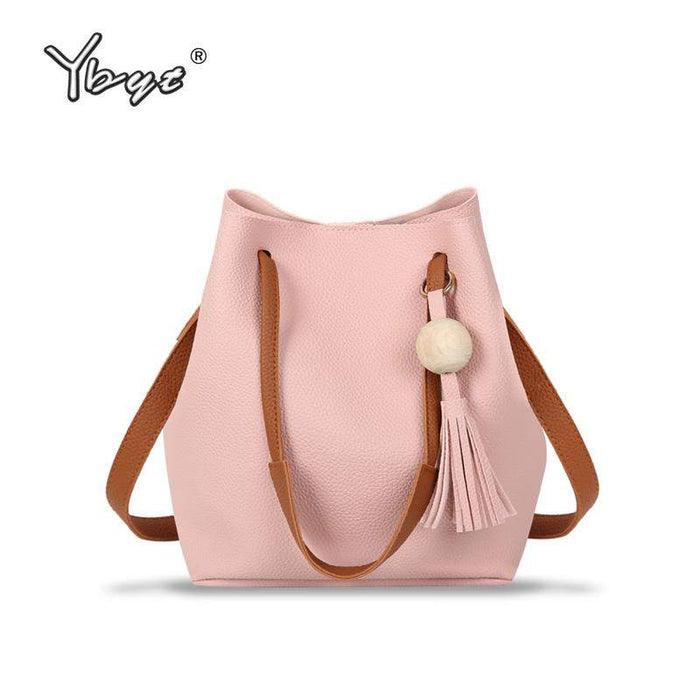 YBYT brand 2017 new small joker leisure tassel solid bucket package hotsale women shopping handbags lady shoulder crossbody bags - successmall