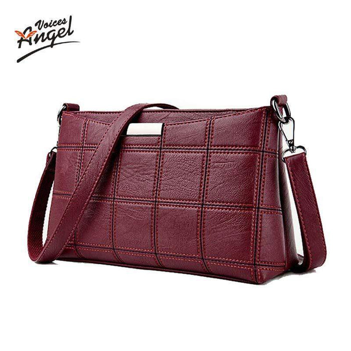 Angel Voices Brand 2017 Fashion Thread Crossbody Bags Plaid PU Leather Bags Women Handbags Designer Shoulder Bags Ladies Sac