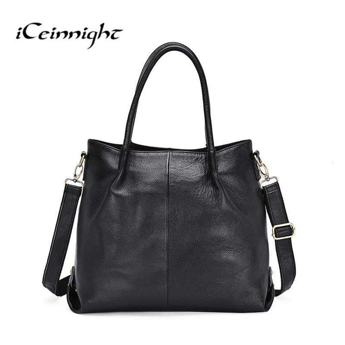 iCeinnight 100% genuine cow leather women bag vintage black sold shoulder bag for female luxury big tote with long 120cm belt - successmall