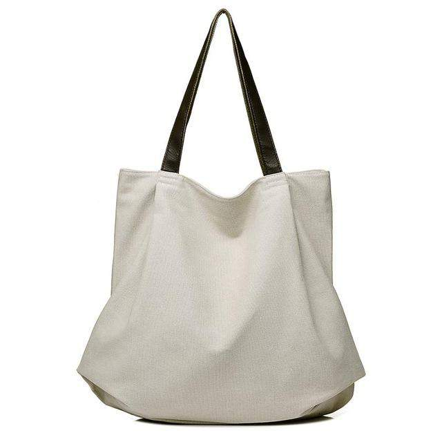 Scione Women Canvas Handbag Large Capacity Womens Tote Bags Simple Style Big Shopping Bags Female Canvas Beach Bag Big Tote