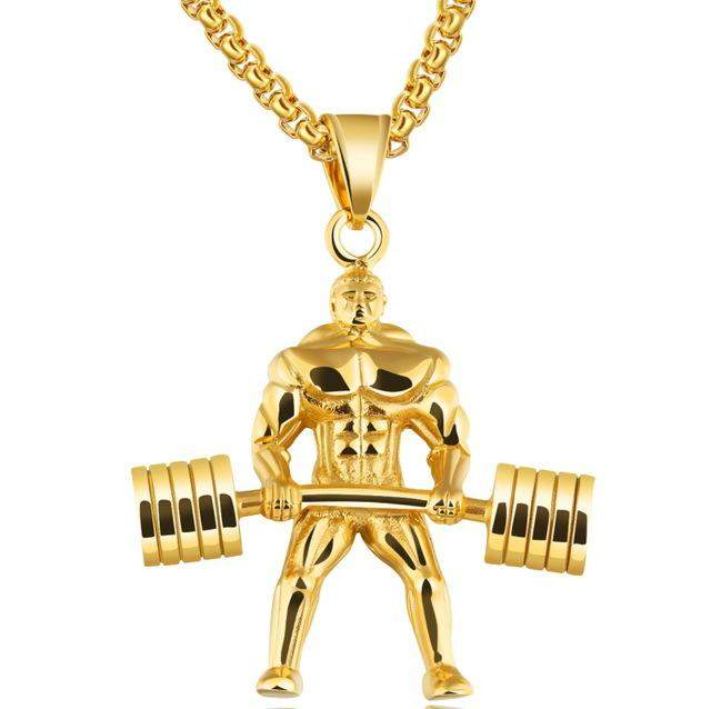 TENGYI Strong Man Stainless Steel Pendant Necklace Personalized Sport Dumbbell Weight Lifting Charm Gym Jewelry Necklace GX1218 - successmall