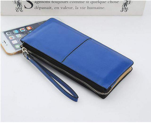 Women Wallets Candy Oil Leather Wallet Long Design Day Clutch Casual Lady Cash Purse Women Hand Bag Carteira Feminina LB226 - successmall