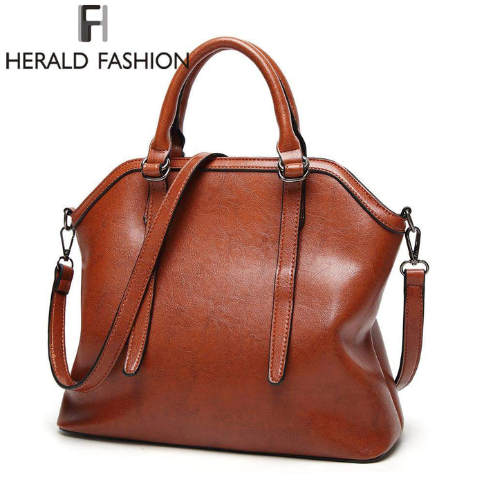 Herald Fashion Large Capacity Women TopHandle Bags Luxury Brand Tote Bag High Quality PU Leather Shoulder Bag For Women 2017