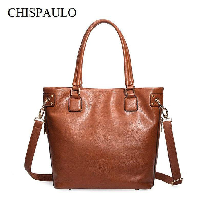 CHISPAULO 2017 Women Genuine Leather Handbags Vintage Women Messenger Bags Bolsa Femininas Oil Wax Leather Handbag Fashion X66