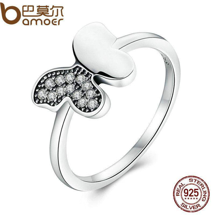 BAMOER Genuine 100% 925 Sterling Silver Dancing Butterfly,Clear CZ Finger Ring for Women Wedding Jewelry PA7617