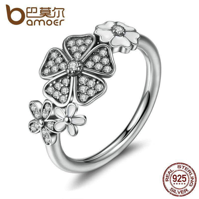 BAMOER 925 Sterling Silver Shimmering Bouquet, White Enamel & Clear CZ Flower Finger Rings for Women Wedding Gift PA7176 - successmall