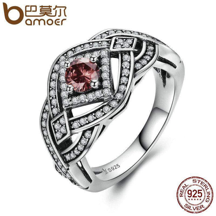 BAMOER Authentic 925 Sterling Silver Punk Weave Finger Ring Geometric Rings For Women Sterling Silver Vintage Jewelry SCR059 - successmall