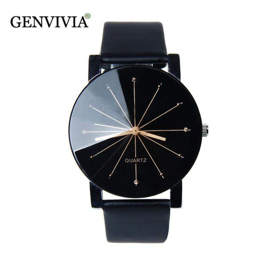 GENEVIVIA Luxury Brand Men's Watch Quartz Dial Clock Leather Wrist Watch Round Case Stainless Steel Business Wristwatch
