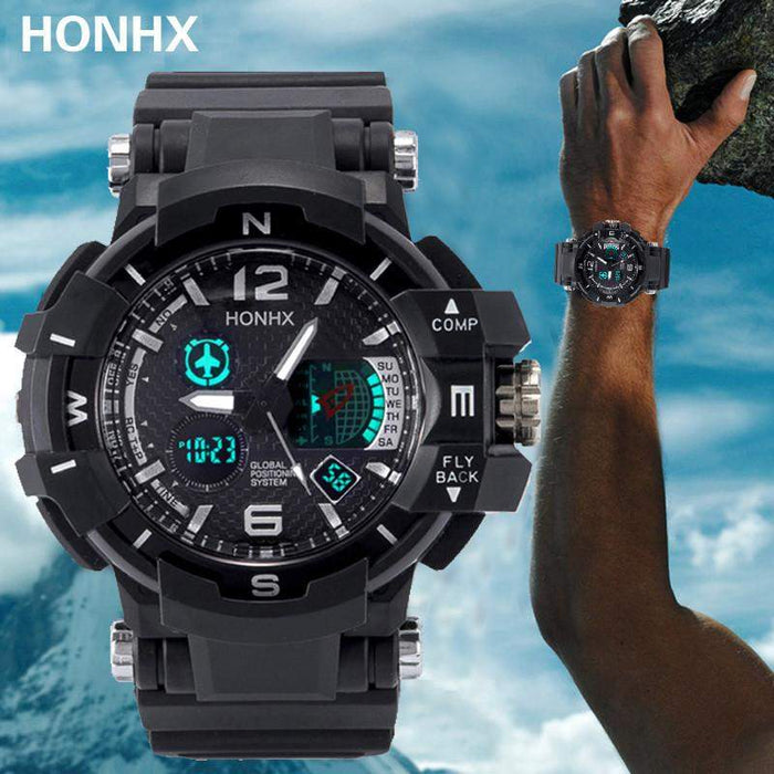 Men's Rubber Band LED Digital Sports Watch 2017 Dual Display Waterproof Quartz Wrist Watches For Men #516 - successmall