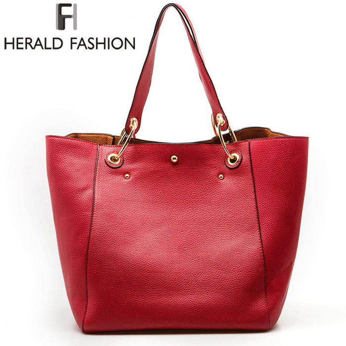 Herald Women Handbag High Quality PU Leather Shoulder Bags Solid Designer Handbags Large Capacity Casual Tote Composite Bag - successmall