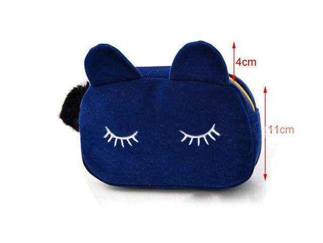 GAORUI Women black cat face Wallets Pompon Cute Bag Handbags Cellphone Daily Purse embroidery black kitten - successmall