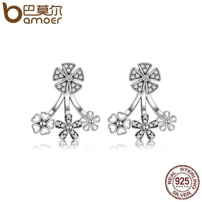 BAMOER 925 Sterling Silver Trendy Natural Flower Dazzling Daisy Earrings Jacket for Women Sterling Silver Jewelry Brincos SCE063 - successmall