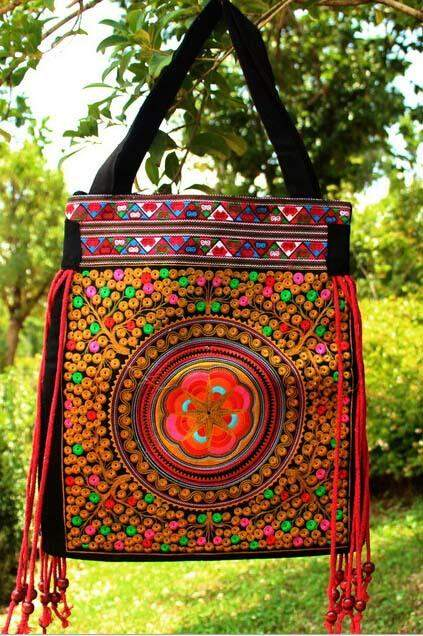 Vintage Embroidery Women National Bags Handmade Flower Embroideried Ethnic Cloth Shoulder Bag with tassel women handbag - successmall