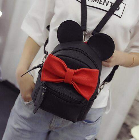 Mickey Backpack New Female bag Quality pu leather Women bag Mickey ears Big bow Sweet girl Shoulder bag Parent-child Travel bag - successmall
