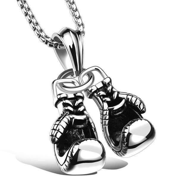 Men's Necklace & Stainless Steel Pendant Pair Boxing Gloves Chain Necklace Double fist sets titanium Sport Fitness Jewelry #GH30 - successmall