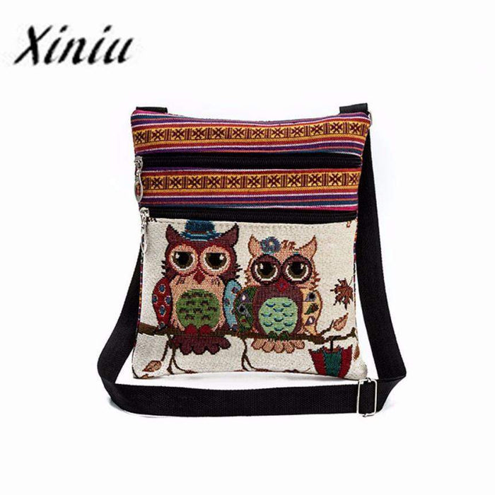 Xiniu Womens Bag large Capacity Owl Embroidery handbagse Female animal crossing Casual patchwork bag bolsas de grife #YHYW - successmall