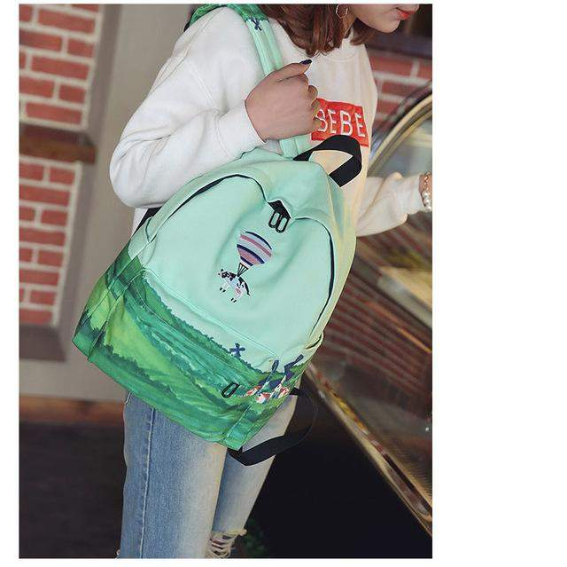 FLYING BIRDS School Bags For Teenagers Girls Printing Backpacks canvas Cute Landscape computer backpack Bookbag Travel bag