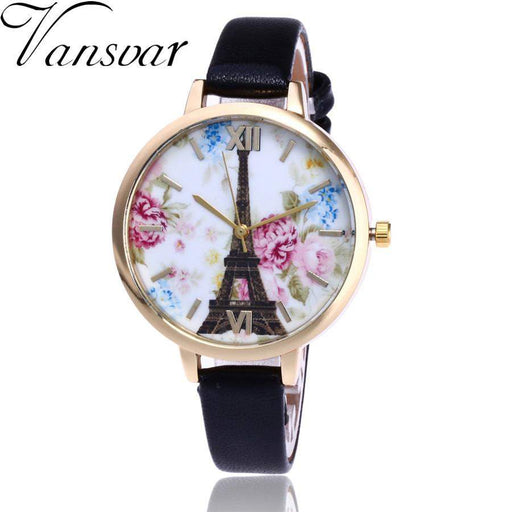Vansvar Brand Vintage Paris Eiffel Tower Watches Women Fashion Watch Crystal Leather Quartz Wristwatch Montre Femme Clock #523