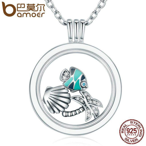 BAMOER 925 Sterling Silver Tropical Paradise Petites,Mixed Enamel CZ Memories Floating Box Necklaces & Pendants Luxury Jewelry - successmall