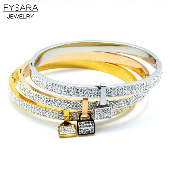 FYSARA Gold-Color Lock Bracelet Bangles Love Lover Jewelry Couple Fashion Romantic Design Full Crystal Bangle Lock Women - successmall