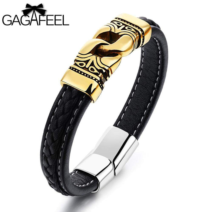 GAGAFEEL Men Wristband Magnetic Buckle Bracelet Stainless Steel Cattlehide Leather Jewelry Classic Bangles Black Rope Chain - successmall