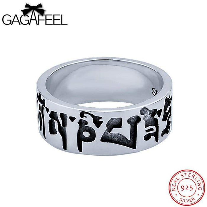 GAGAFEEL Buddhism Letter Ring Men Jewelry 925 Sterling-Silver-Jewelry Six Words Of Mantra Big Buddha Curse Gift For Man Male Boy - successmall