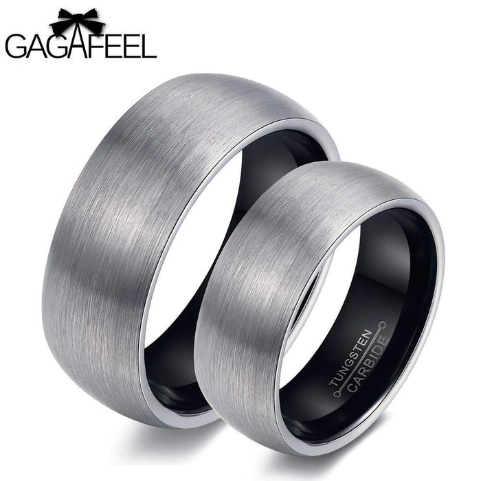 GAGAFEEL Love Rings Finger Ring Women Men Tungsten Steel Arc Smooth Couples Lucky Vintage Jewelry For Wedding Lover - successmall