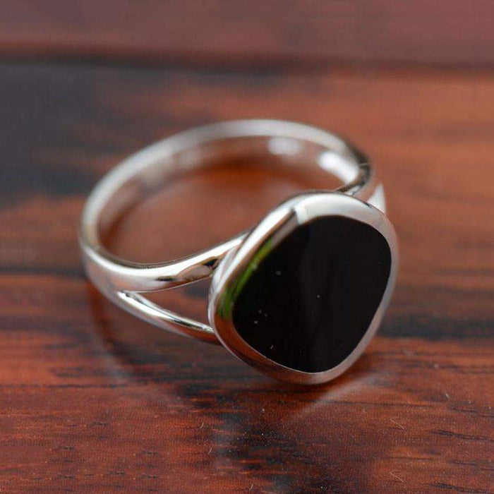 V.YA Black Natural Stone Rings 925 Silver New Fashion Square 100% S925 Solid Sterling Silver Ring for Women Men Jewelry - successmall