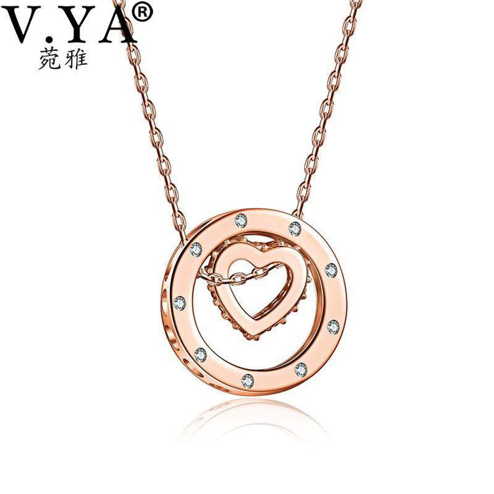 V.YA 925 Sterling Silver Crystal Heart Pendant Necklaces For Women Silver Necklace Double Circle Pendant Hollow Heart Pendant - successmall