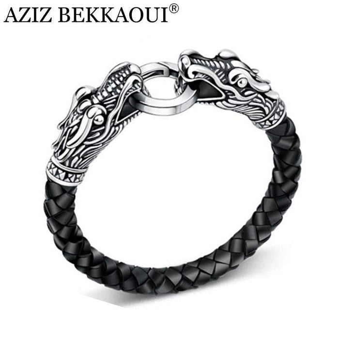 Leather Tibetan Silver Men Bracelet Stainless Steel Fashion Male Vintage Parataxis Dragon Bracelet & Bangles Silver Men Jewelry - successmall