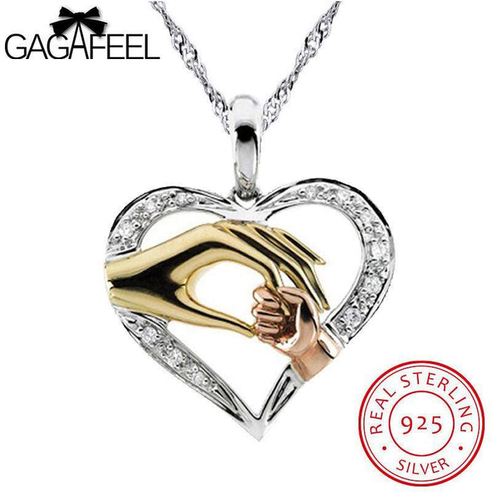 GAGAFEEL 925 Sterling Silver Pendant Women Jewelry Double Hands Love Mom By Heart Water Waves Chain Necklaces Thanksgiving Gift - successmall