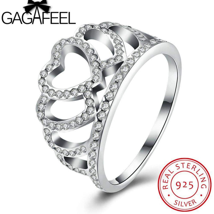 GAGAFEEL 925 Sterling Silver Princess Queen Crown Rings For Women With CZ Crystal S925 Silver Finger Ring Jewelry USA Size 6 7 8 - successmall