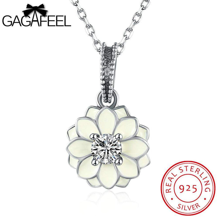 GAGAFEEL Flower Pendant Sterling Silver Necklaces For Women Romantic Jewelry Cubic Zircon Blossom Link Chain Bijoux For Party - successmall