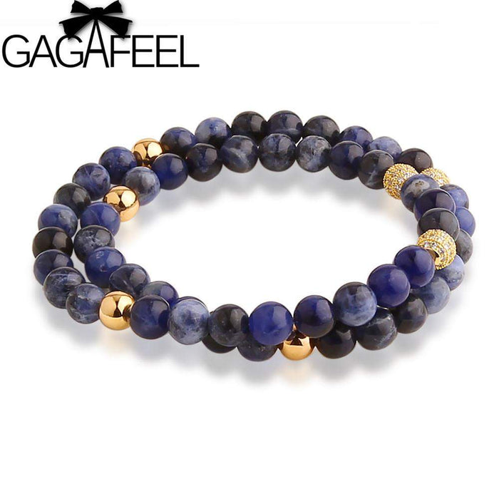 GAGAFEEL New Style Blue Stone Men's Two Circles Bracelet Bangle High Quality Natural Stone Beads Bracelet Zircon Micro Pave - successmall