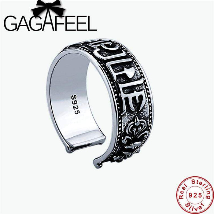 GAGAFEEL Open Lucky Ring For Men Buddhism Jewelry 925 Sterling Silver Bijoux Six Words Of Mantra Big Buddha Curse Lucky To Boy - successmall