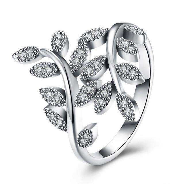 GAGAFEEL Turely 925 Sterling Silver Leaves Rings Plant Finger Jewelry With Clear CZ Zircon For Original Lady Female Wedding - successmall