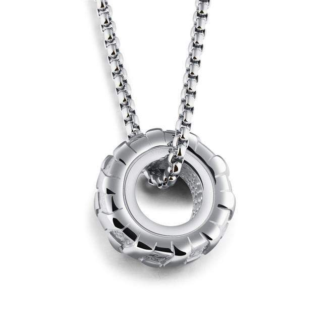 GAGAFFEL Statement Necklace Cool Tire Wheel Pendants Necklaces For Punk Men Jewelry Stainless Steel 3 Colors New Arrival Gifts - successmall