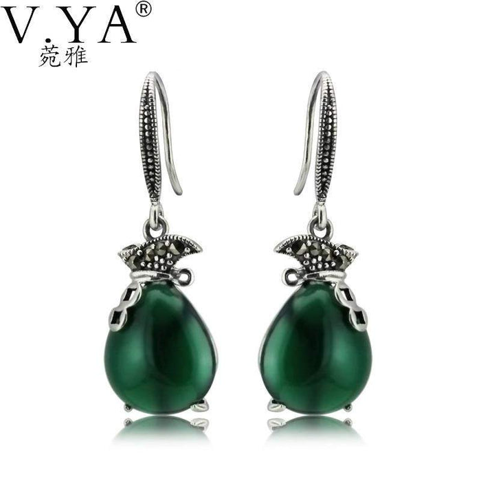 100% Real 925 Sterling Silver Earrings for Women High Quality Vintage Thai Silver Green Stone S925 Solid Silver Earring CE184 - successmall