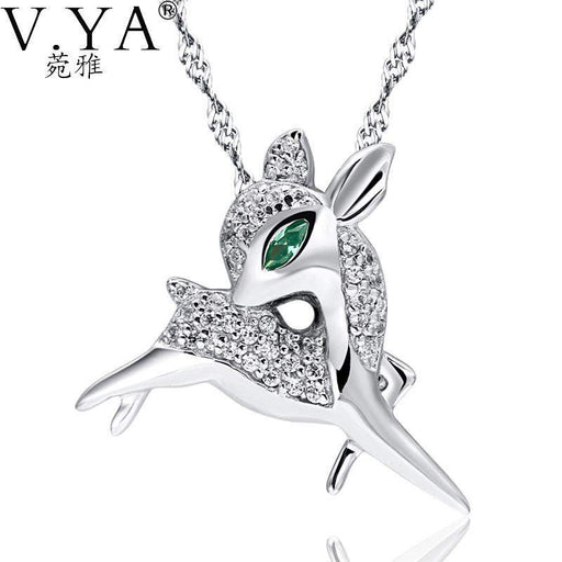100% Real 925 Sterling Silver Pendant for Women Fashion Wapiti Jewelry Crystal Animal Elk Pendant Zirconia Deer Pendant CP171