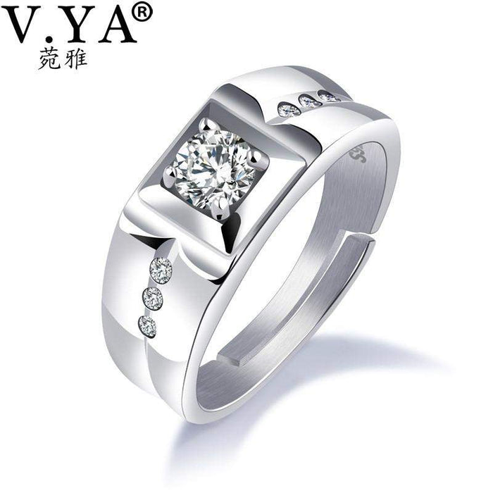 V.YA 925 Sterling Silver Ring Ringent Big Size Wide Square Finger Rings Classic Cool Cubic Zircon Men Engagement Wedding Jewelry - successmall