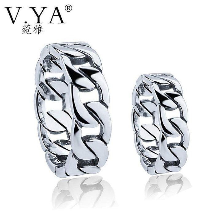 V.YA Couple Rings for Lovers 925 Sterling Silver Rings for Men Women Big Sze 4-13 S925 Link Chain Style Ring Wedding Engagement - successmall