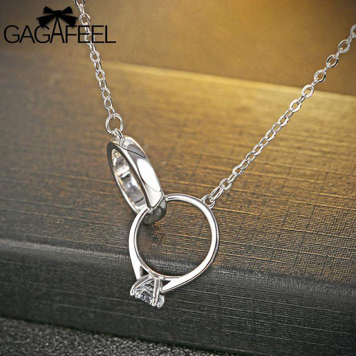 GAGAFEEL 925 Sterling Silver Necklace With Sparking CZ Zircon Women Wedding Jewelry Romantic Pendant Necklaces Free Dropshipping - successmall