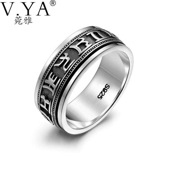 Wholesale 100% Real Pure 925 Sterling Silver Ring . Punk Rotatable ring Fine Jewelry free shipping big sizes Men Jewelry HYR06 - successmall