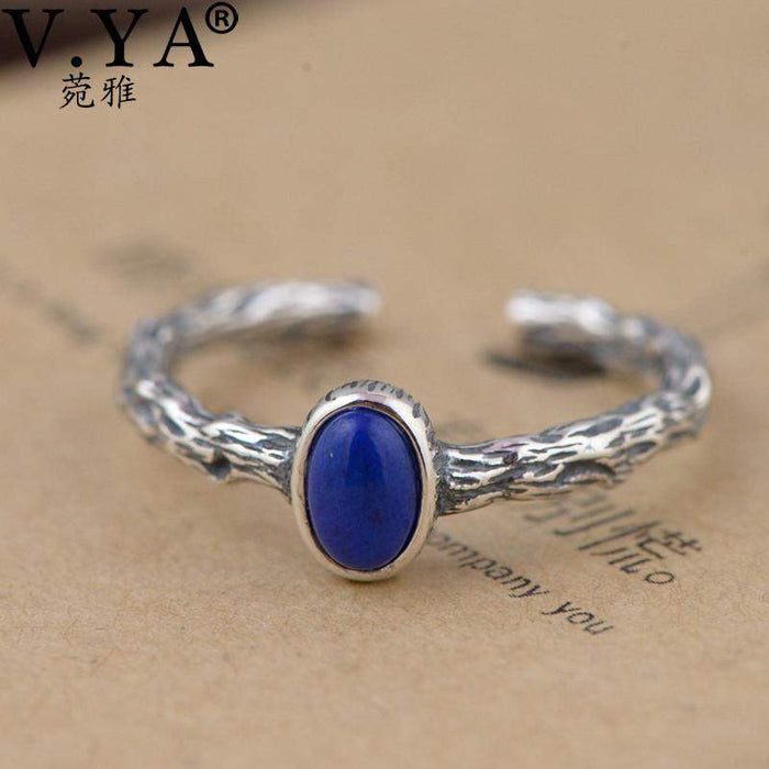 V.YA Retro Style Branches Rings Real 925 Sterling Silver Blue Color Natural Stone Finger Ring For Women Female Jewelry - successmall